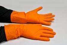 Перчатки хозяйственные латексные оранжевые